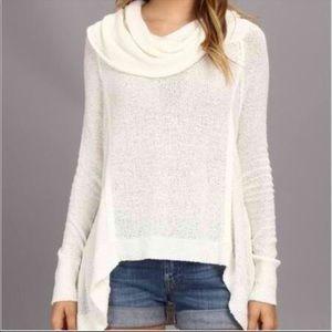Free People White Drapey Cowl Neck Sweater XS